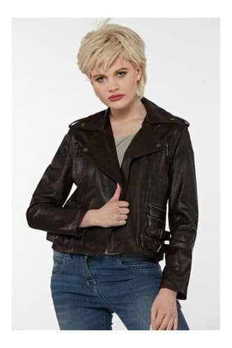 Womens Leather Jacket in Brown:BU